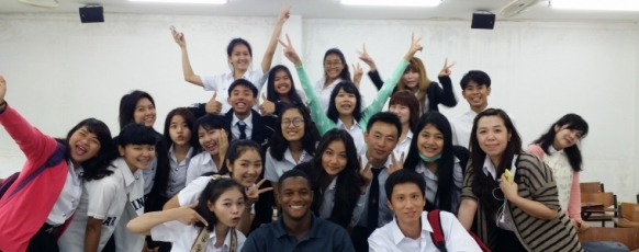 2014 PiA fellow Kenyon with his students in Khon Kaen, Thailand